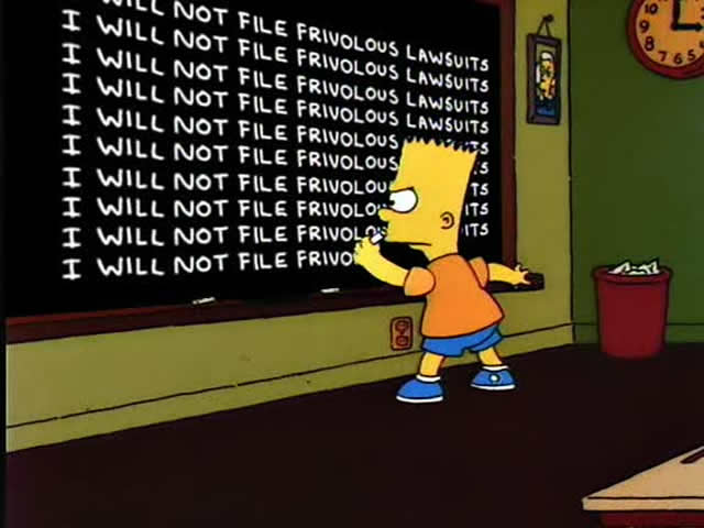 Bart Simpson: Frivolous Lawsuits